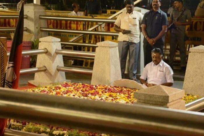 O Panneerselvam meditates at J's grave