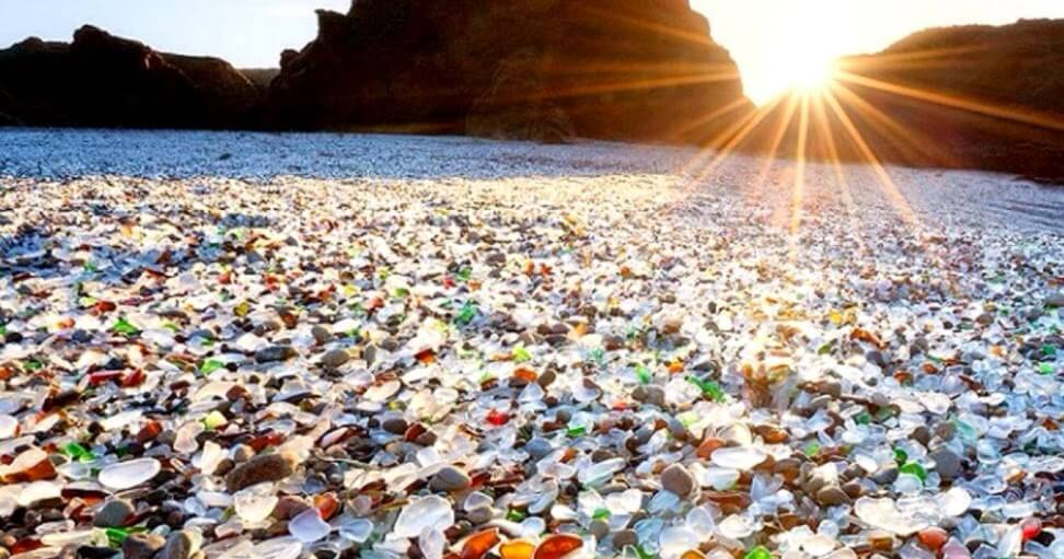 """Glass Beach"" Made From Broken Glasses & The Pics Resemble The Kaleidoscopic Gems"