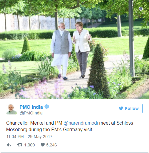 Tweet of Modi about the Meet in Meseberg at Germany