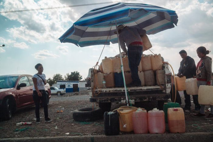 In Mexico, mostly the fuels are sold in plastic containers in metal cages that were taken in old- pick up trucks