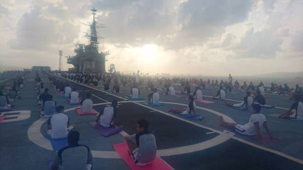 At Mumbai, Western Naval Command personnel all set to perform Yoga on board of ex-Viraat,.