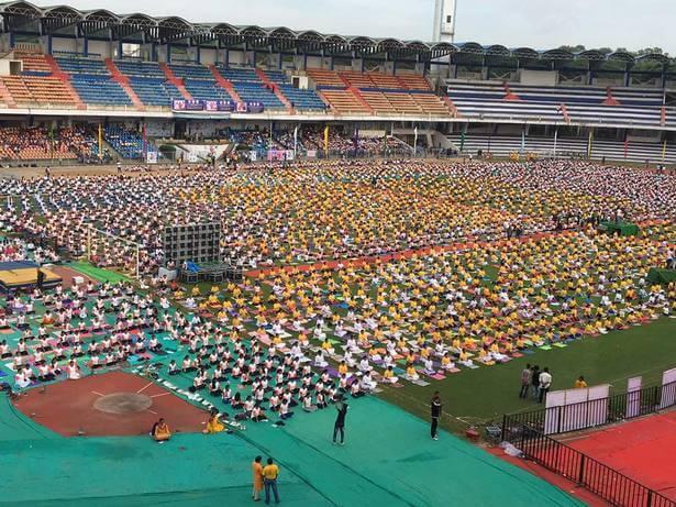 In Bengaluru, International Yoga day at Kanteerava outdoor stadium.