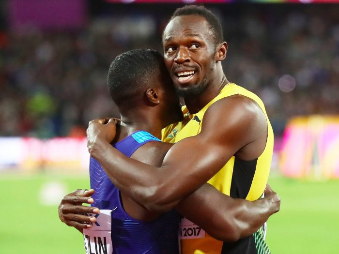 Victory player Gatlin genuflected to the Jamaican after his victory