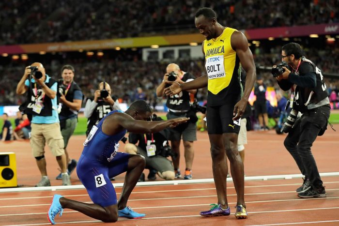 Gatlin genuflected to the Jamaican after his victory, Despite failing to claim a 12th world title.