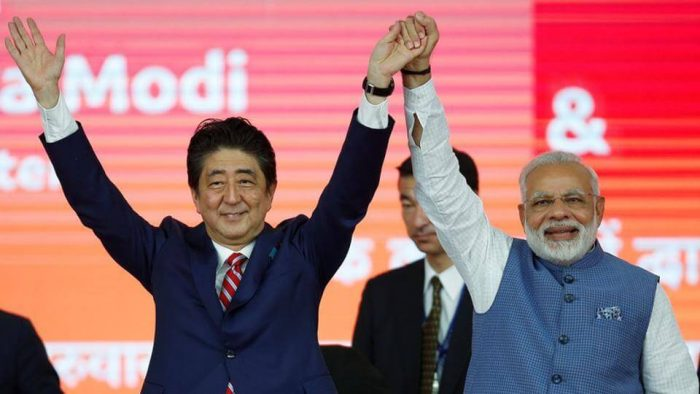 Rs. 1.10 lakh crore for India. Japan is giving a loan of Rs. 88,000 crore for the project at a minimal interest of 0.1 per cent.
