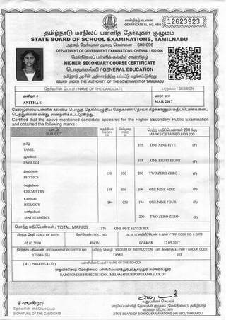 S. Anitha's State Board Examinations Mark List