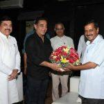 Delhi Chief Minister Arvind Kejriwal Meets Kamal Hassan at his office