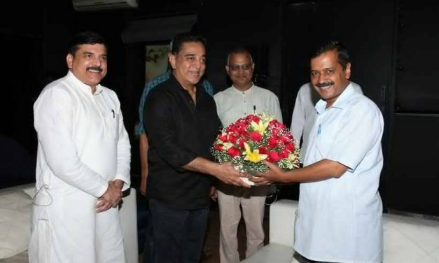 Delhi Chief Minister Arvind Kejriwal Meets Kamal Hassan at his office