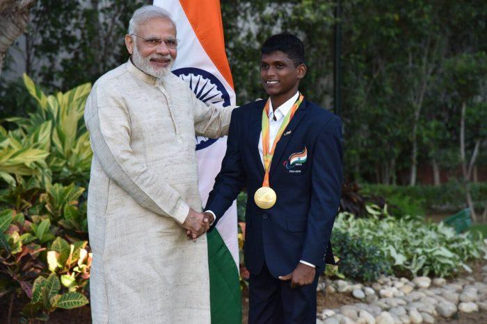 Mariyappan Thangavelu with Prime Minister Narendra Modi