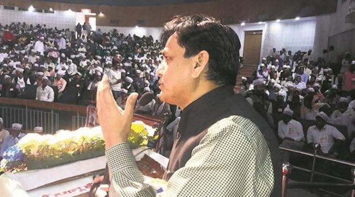 Nityanand Rai addressing a function in the presence of Bihar's Deputy Chief Minister Sushil Modi