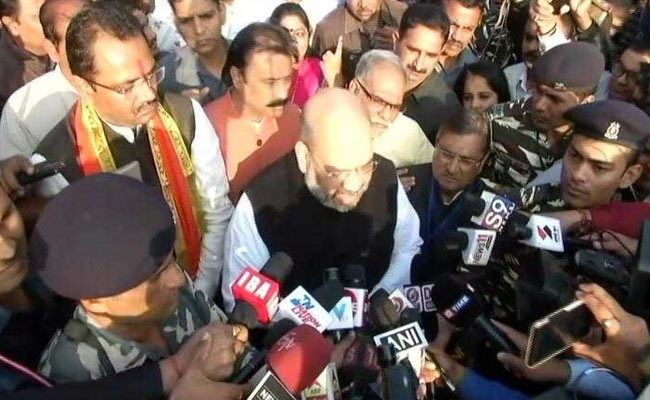 BJP president Amit Shah cast his vote in the second phase of the Gujarat assembly elections 2017
