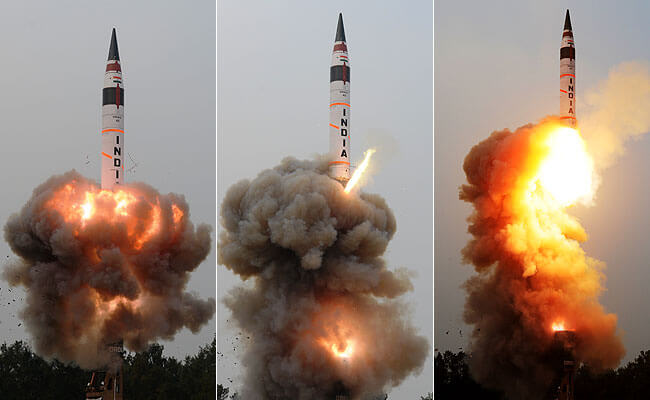 India Successfully test-fires Nuclear Capable Agni-5 Ballistic Missile