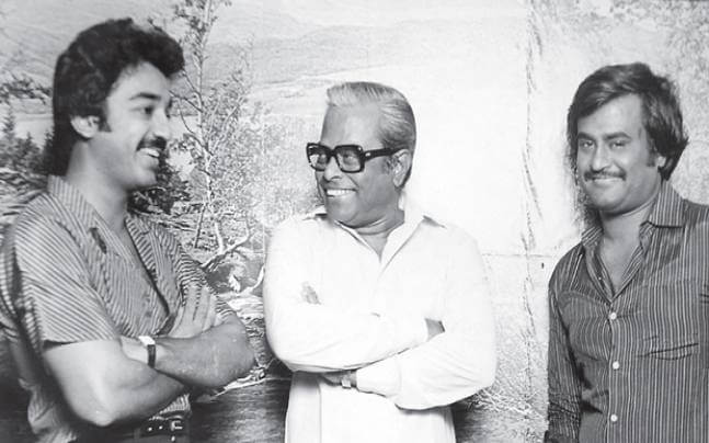 Kamal Haasan with K. Balachander and Rajinikanth