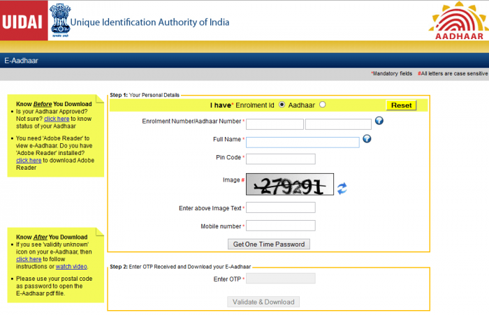 Download Aadhaar Card by Date of Birth