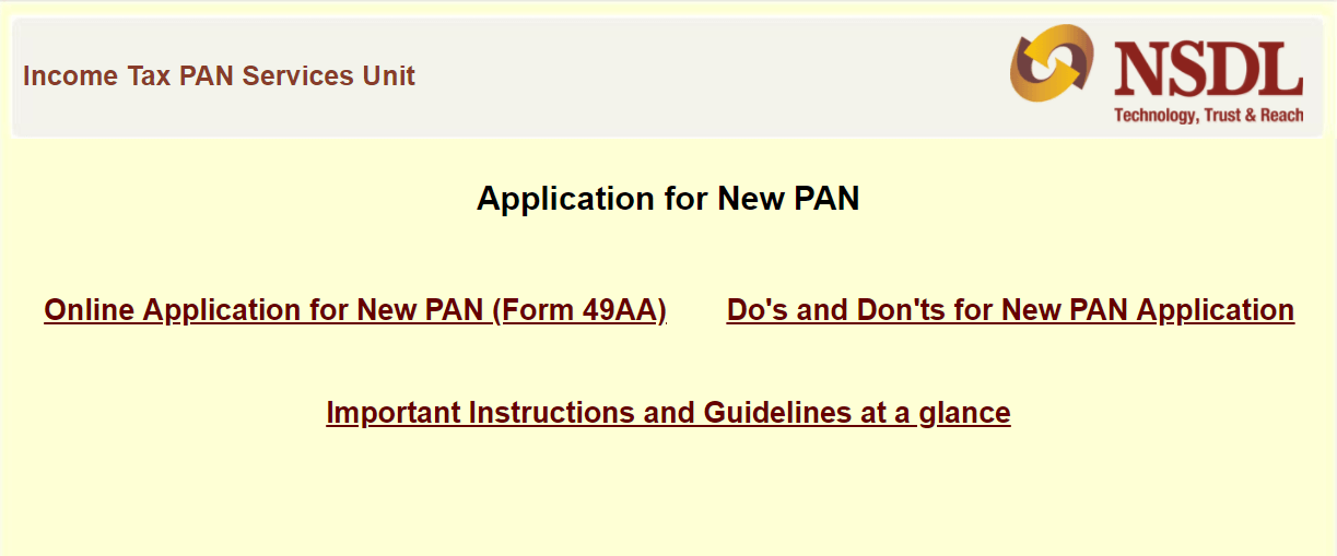 NSDL PAN Card