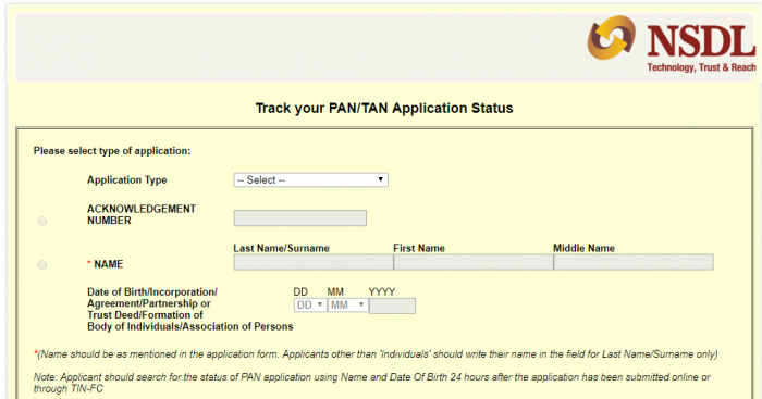 PAN Card Status Via Online