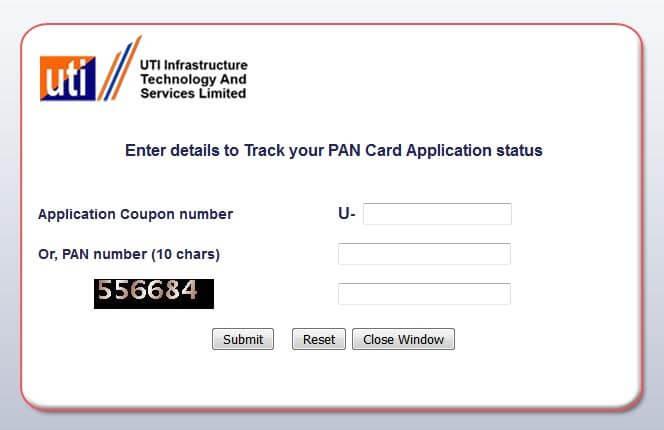 UTI PAN Card Status