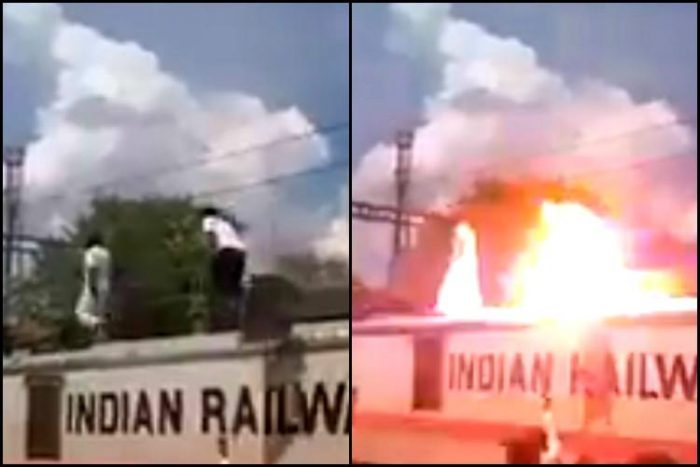 PMK Member walks on Top of the Train during Cauvery Protest, gets Electrocuted