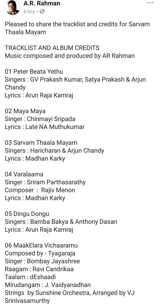 Sarvam Thaala Mayam Tracklist