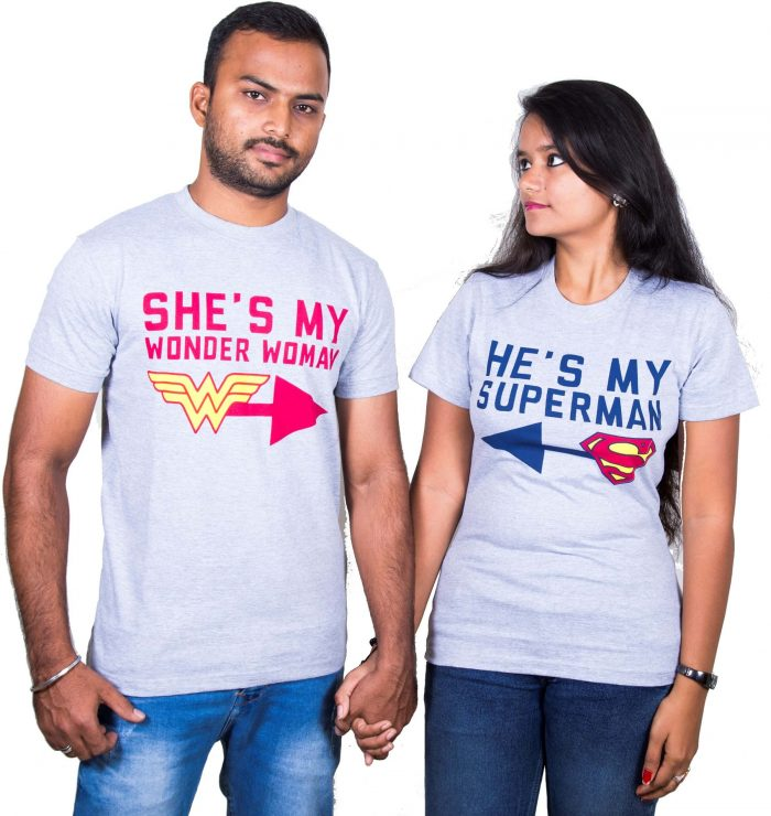 She is my Wonder Woman and He is my Superman Couple T-Shirt