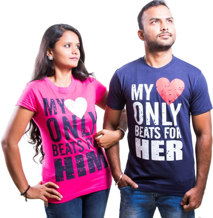 My heart only beats for him and My heart only beats for her couple T Shirt