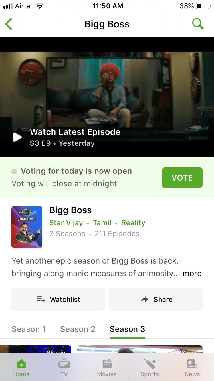 Bigg Boss 3 Voting